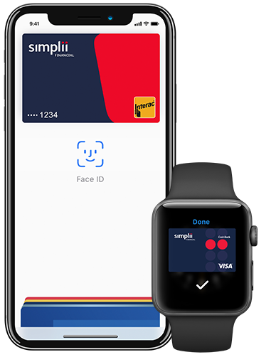 An iPhone and an Apple Watch with Apple Pay.