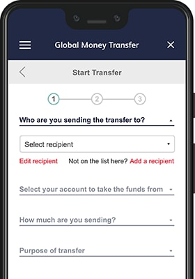 Smartphone displaying the Global Money Transfer start screen on the mobile banking app