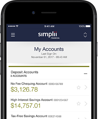 Smartphone with Simplii Financial Mobile Banking on screen